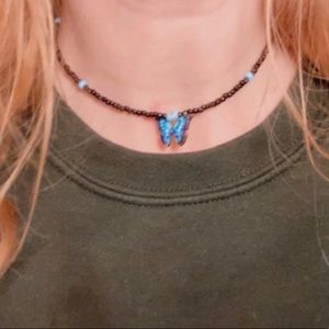 Blue and black 13 inch necklace